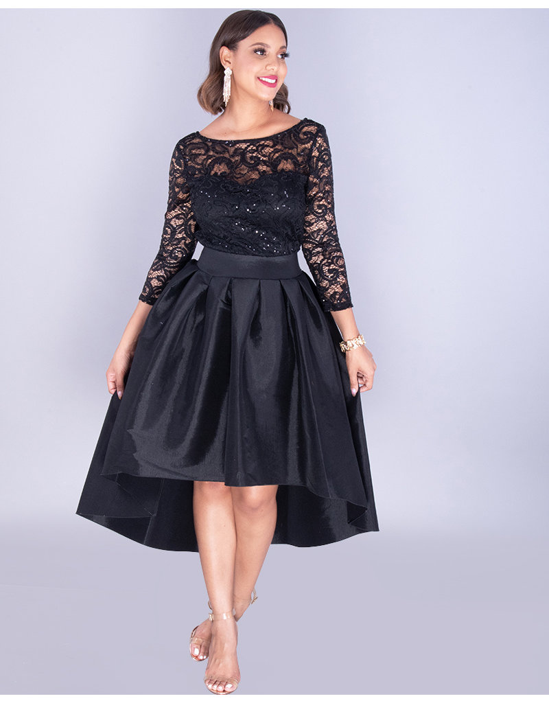 TACITA- 3/4 Sleeve Lace Top Hi-Lo Gown