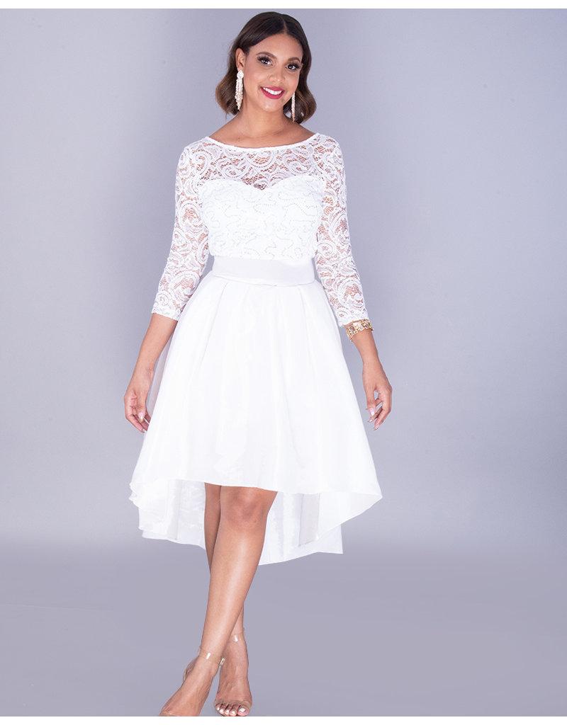 TACITA- 3/4 Sleeve Lace Top Hi-Lo Gown