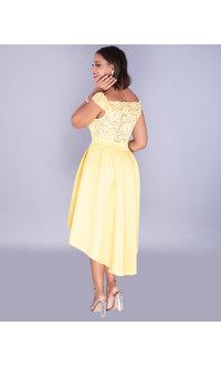 Carolina ULALUME- Lace & Scuba Off Shoulder Dress