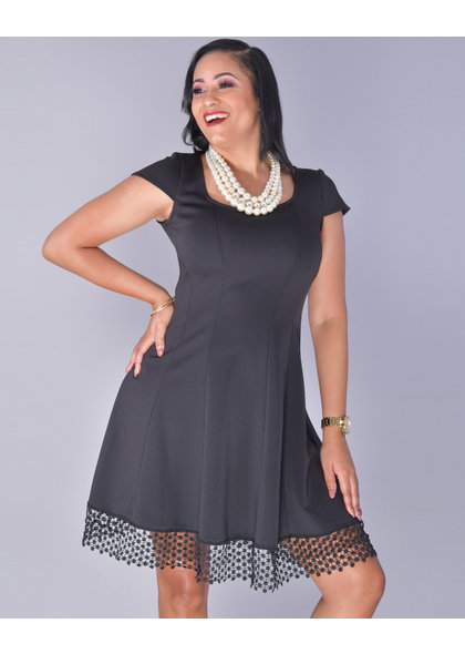 UDAVINA- Lace Hem Fit And Flare Dress