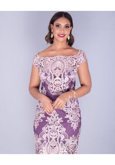 MAKANI- Embroidered Bateau Neck Sheath Dress