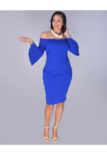 Bebe RYLAN- Off Shoulder Drama Sleeve Sheath Dress