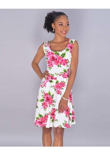 White mark ELONI- Petite Loral Sleeveless Flare Dress
