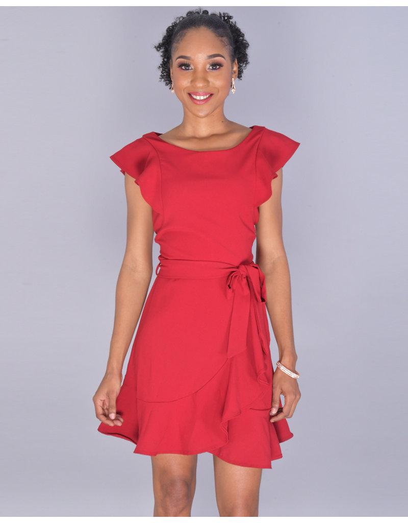 Capricho RASHI- Petite Ruffle Sleeve Faux Wrap Dress