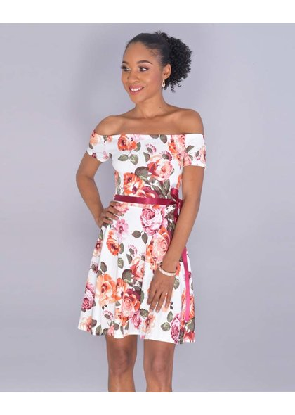 Yabes XENOBIA- Petite Floral Off Shoulder Dress