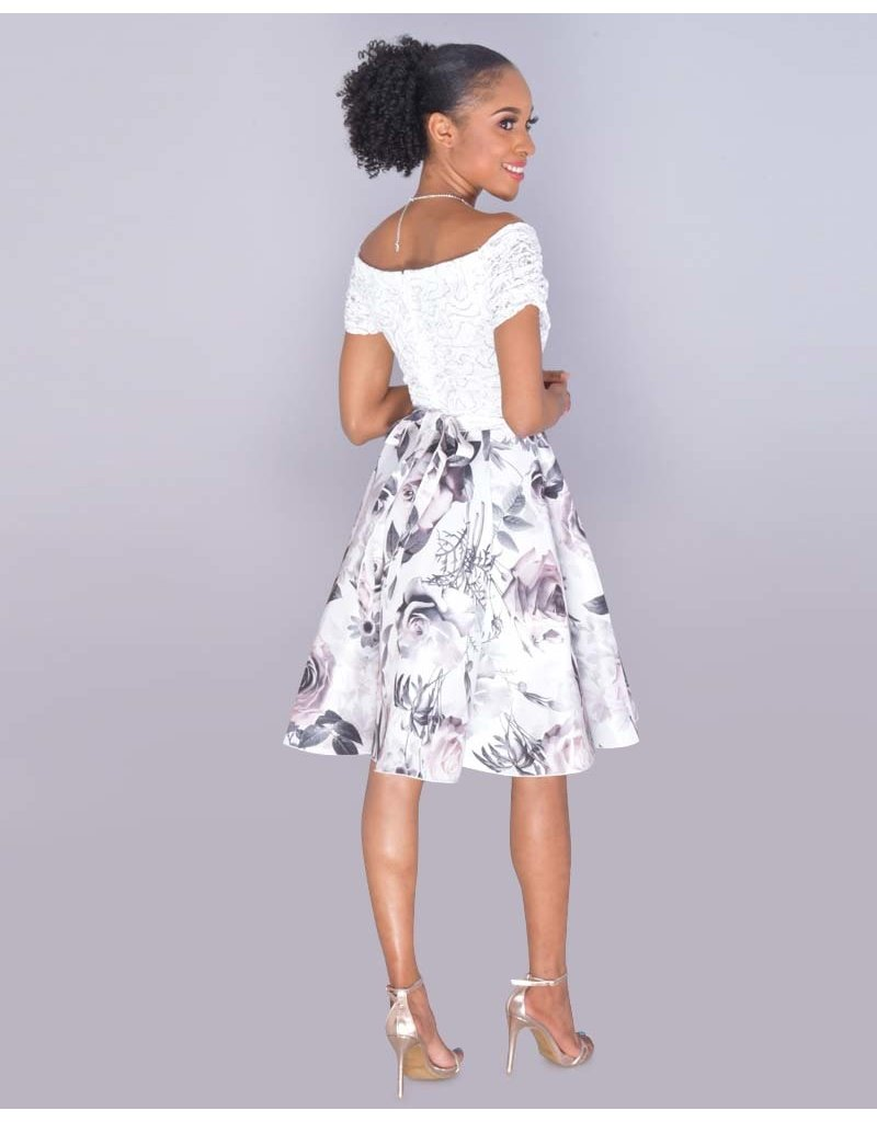 TORIANN- Petite Sequined Top Floral Dress