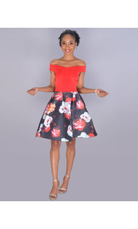 TORI - Petite Two-Tone Fit and Flare Dress