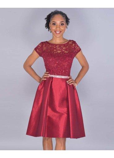 TESSA- Petite Sequined Illusion Top Dress