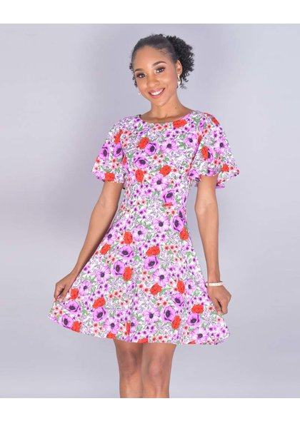 NAKIA- Petite Floral Ruffle Sleeve Flare Dress
