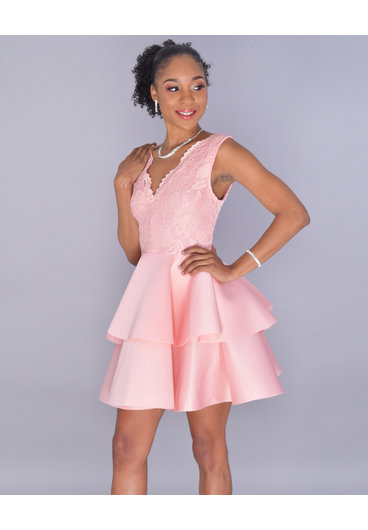 Carolina UDINA- Sleeveless Double Flounce Scuba Dress