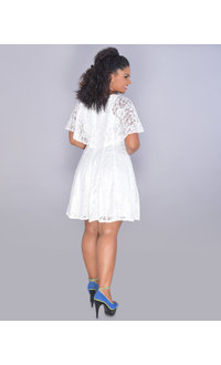 GLAMOUR LEKIA- Glitter Cape Lace Dress