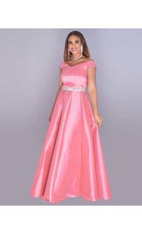 TAMARA- Bejeweled Waist Off Shoulder Taffeta Gown