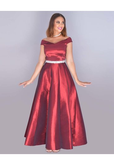 TAMARA- Bejeweled Waist Off Shoulder Taffeta Gown