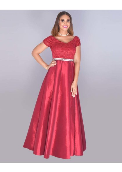 TANYA- Glitter Lace Top Bejeweled Waist Gown