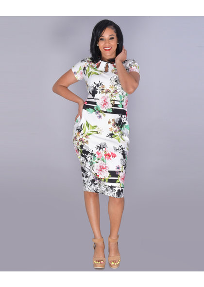 UDILLA- Keyhole Short Sleeve Scuba Dress