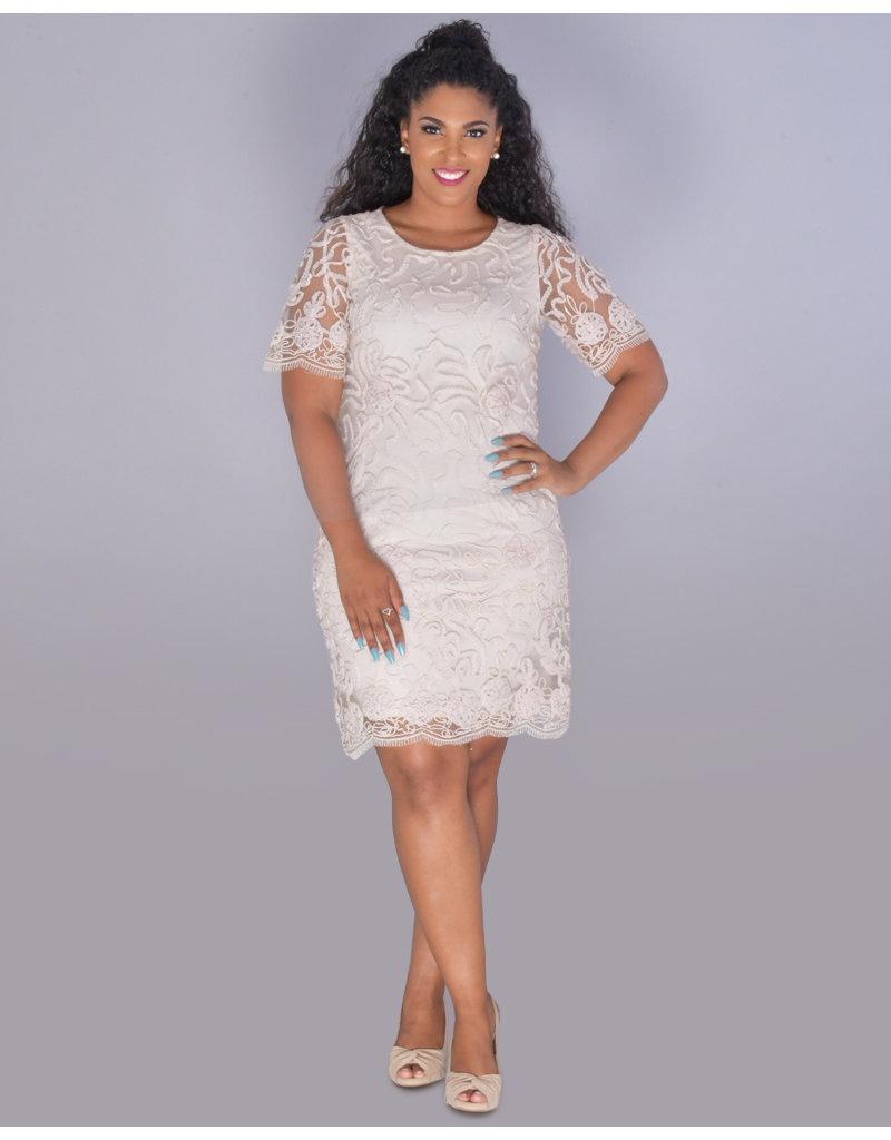 MARGALO- Applique Overlay Sheath Dress