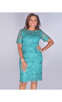 CANTARA- Short Sleeve Crochet Lace Dress
