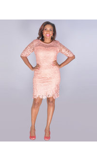 CAPRICE- Crochet Lace Overlay Dress