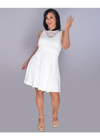 GLAMOUR BETTINA- V-Neck Crochet Bell Sleeve Dress