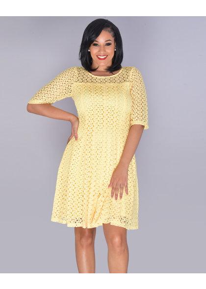 CASILDA- Illusion Crochet Midi Sleeve Flare Dress