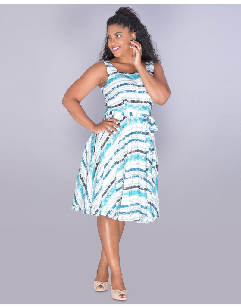 LIHINI- Printed Square Neck Lace Dress