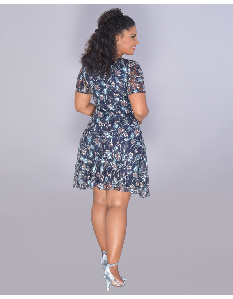 LIBBY- Printed Lace Fit and Flare Dress