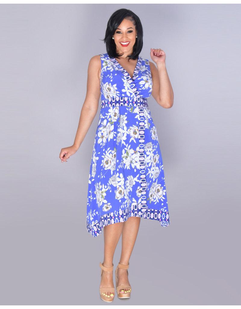 FAHARI- Sleeveless Printed Faux Wrap Dress