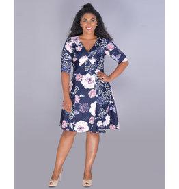 IDEANN- Floral Puff Print Midi Sleeve Dress
