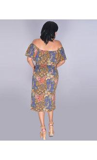 REVATI- Printed Off-Shoulder Split Hem Dress