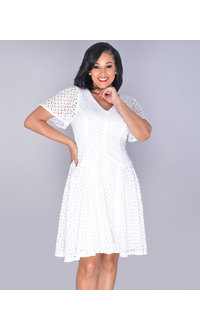 CAREY- V-Neck Crochet Bell Sleeve Dress