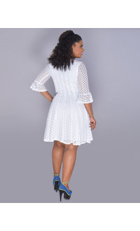 CATALEYA- Three Quarter Sleeve Crochet Dress