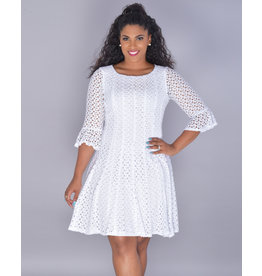 CATALEYA- Three Quarter Sleeve Crochet Dress