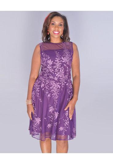 GLAMOUR MARBELLA- Illusion Embroidered Sleeveless Dress