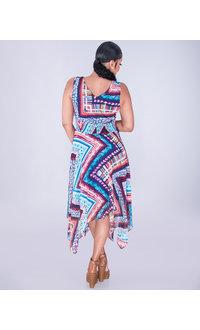 FASILA-Printed  V-neck Handkerchief Hem Dress