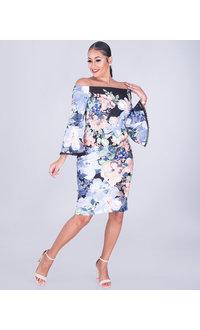 ULANI- Floral Bateau Neckline Scuba Dress