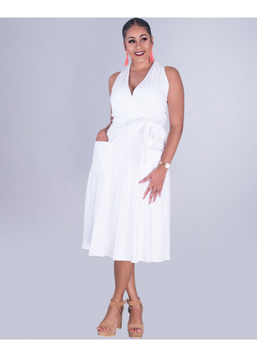 KATHY- Embroidered Sleeveless Cotton Dress