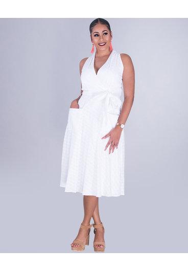 KATHY- Embroidered Sleeveless Cotton Dress