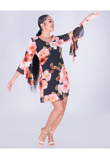 Nine West FLOELLA- Floral Sheer Drama Sleeve Dress