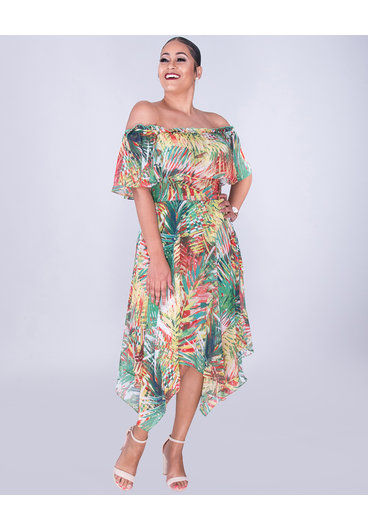 FAERIE- Printed Off Shoulder Handkerchief Hem Dress