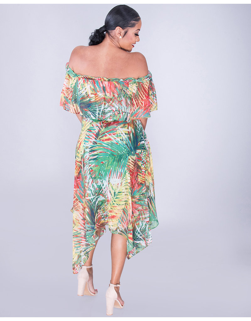 FAERIE- Printed Off Shoulder Handkerchief Hem Dress