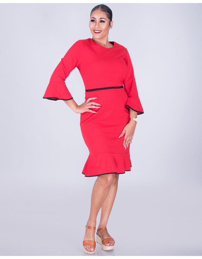 RALPHINE- Trimmed 3/4 Sleeve Dress