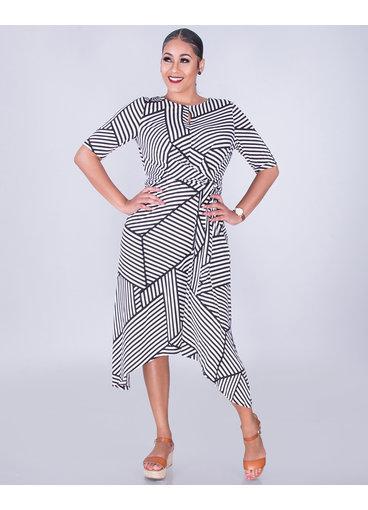 IDO- Geo Print Side Tie Flare Dress