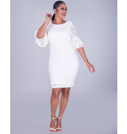 LORELAI- Flounce Sleeve Lace Dress