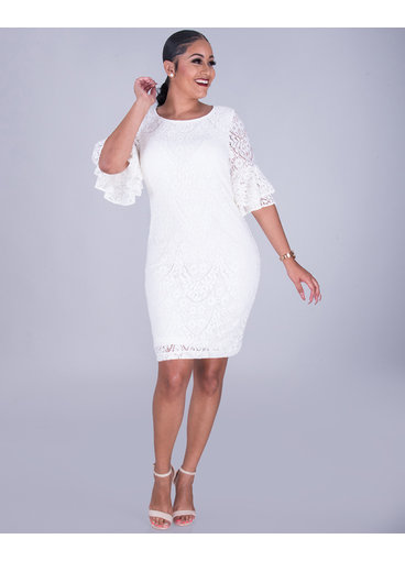 LORELAI- Flounce Sleeve Lace Dress