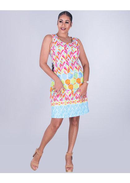 BETHANY- Printed Sleeveless Dress