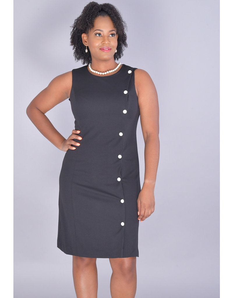Shelby & Palmer RENDRA-Armhole Dress with Pearls Along Left Side