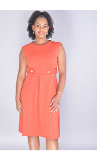 Shelby & Palmer RACANI-Sleeveless Dress with Buttons at Waist