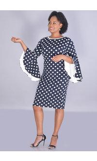 Shelby & Palmer RAJMILA- Polka Dot 3/4 Contrast Drama Sleeve Dress