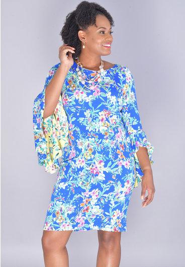 Shelby & Palmer IDOVA- Floral Print 3/4 Drama Sleeve Dress