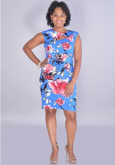 Shelby & Palmer RABANI- Floral Print Sleeveless Dress With Keyhole